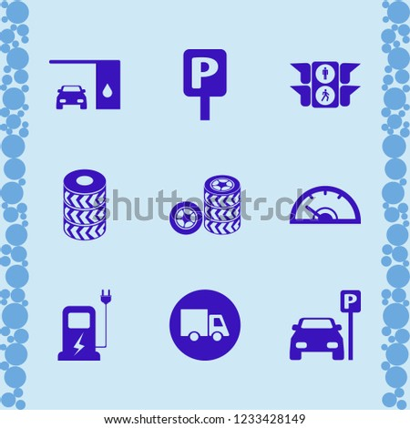 vehicle icon. vehicle vector icons set truck, changing car oil, car charger and speedometer