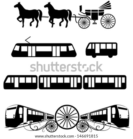 Vehicle icons: public transportation as tram, bus, train, metro, carriage or coach. May be used as emblem, icon and sign.