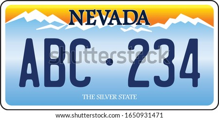 vehicle licence plates marking in Nevada in United States of America Stock fotó ©