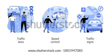 Vehicle movement regulation abstract concept vector illustration set. Traffic laws, speed control, traffic signs, driving license, road safety, police radar, speed limit, transport abstract metaphor.