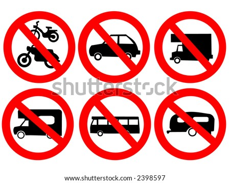 Vehicle prohibited signs bike bus car and caravan illustration