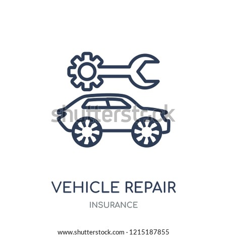 Vehicle repair icon. Vehicle repair linear symbol design from Insurance collection.