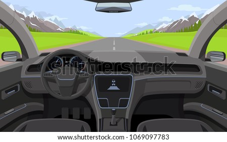Vehicle salon, inside car driver view with rudder, dashboard and road, landscape in windshield. Driving simulator vector illustration. Car view steering and windshield