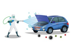 Vehicle sanitize and disinfectant services. Car sanitize for covid 19 disease with proper servicing. Vector illustration car disinfectant.