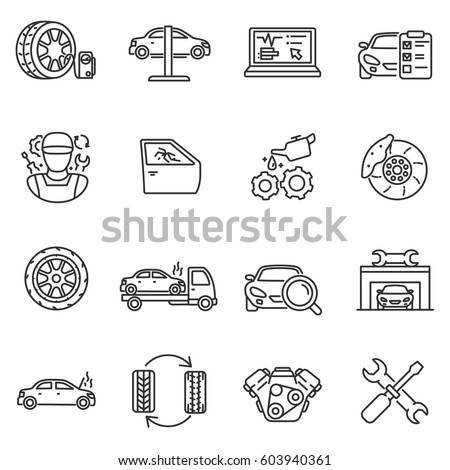 Vehicle service icons set. Automobile repair shop, thin line design. Car maintenance. Lines with editable stroke. isolated symbols collection