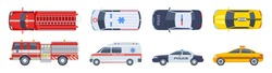 Vehicle set. Transport top view. Police car ambulance fire engine taxi vector flat isolated. Urban special transport icons