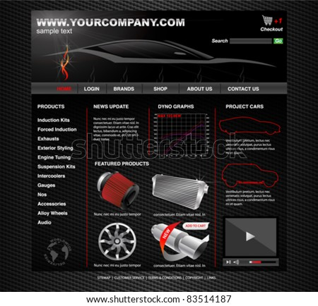 Vehicle Tuning Website - stock vector