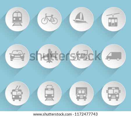 vehicle web icons on light paper circles