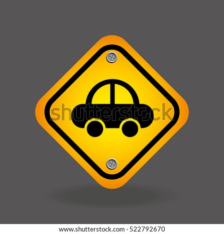 vehicle yellow road street sign vector illustration eps 10