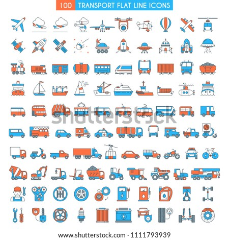 Vehicles big icons set. Transportation, cars, bikes, bus, trains, ships, space shuttle, rockets, public transport modern icons Flat line design icons collection . Vector illustration