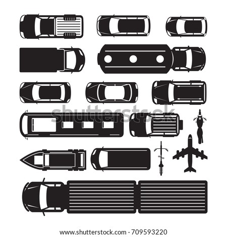 Vehicles, Cars and Transportation in Top or Above View, Silhouette, Mode of Transport, Public and Mass