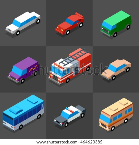 Vehicles Icons Set 2. 3D Isometric Low Poly Flat Design. Vector illustration.