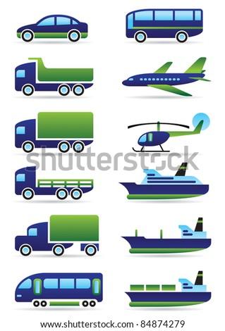 Vehicles icons set - vector illustration
