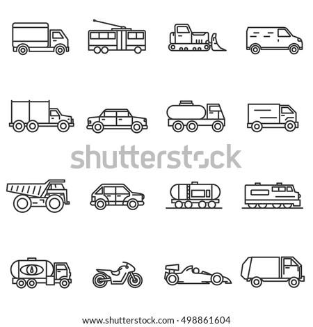 Vehicles, line icons set. Collection of ground transportation. Various transport , vector linear illustration. car, truck, train, public transportation, bike, bulldozer. Wheel vehicles elements
