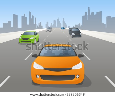 vehicles on highway, front view, vector illustration
