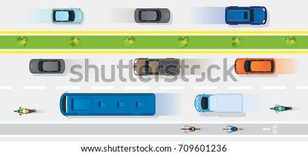 vehicles on road with bike lane