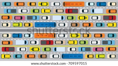 vehicles on road with traffic