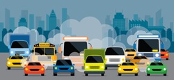Vehicles on Road with Traffic Jam Pollution, Front View with City Background
