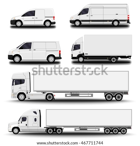 Vehicles set. Cargo Truck and Van