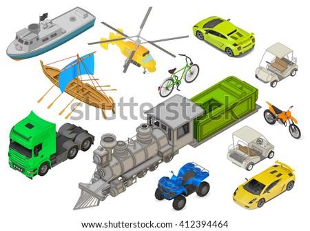 vehicles set of isometric flat