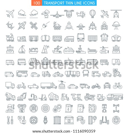 Vehicles thin line icons. Big set. Transportation, cars, bikes, bus, trains, ships, space shuttle, rockets, public transport modern icons Flat line design icons collection . Vector illustration