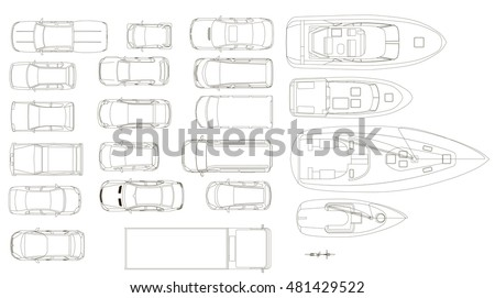Vehicles, top view, vector