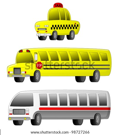 Vehicles - Transportation A set of 3 transportation vehicles (Taxi, School Bus and City Bus). - stock vector