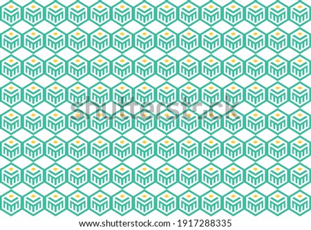 Vektor illustration template background seamless pattern logo double M, book, and sun. Stock foto ©