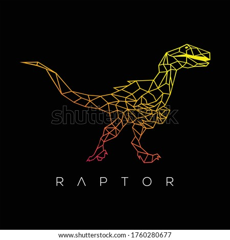 Velociraptor geometric. Vector illustration raptor dinosaur isolated on black background. Dinosaur logo icon, Design element for logo, poster, card, banner, emblem, t shirt. Vector illustration Stockfoto ©