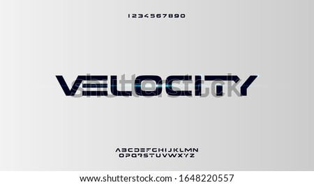 Velocity, an abstract sporty technology alphabet font. digital space typography vector illustration design Foto d'archivio ©
