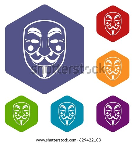 vendetta mask icons set hexagon