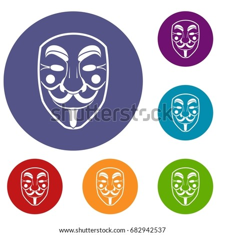 vendetta mask icons set in flat