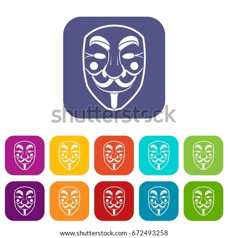 vendetta mask icons set vector