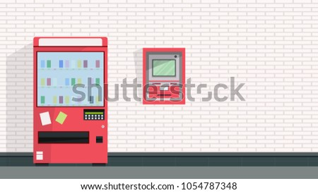 Vending machine and ATM vector. free space for text. wallpaper. background. #1054787348