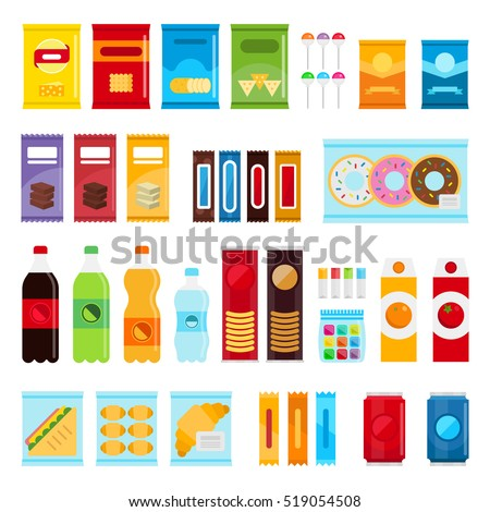 Vending machine product items set. Vector flat illustration. Food and drinks design elements isolated on white background. Fast food snacks and drinks flat icons. Snack pack set stock vector design