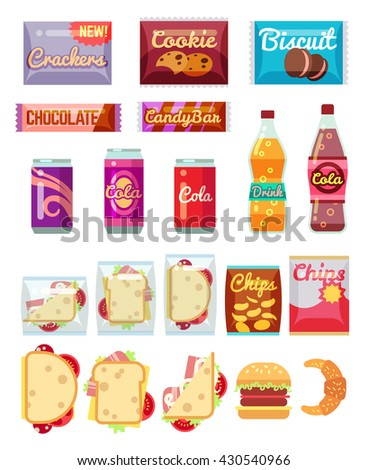 Vending machine products packaging. Fast food, snacks and drinks vector icons in flat style