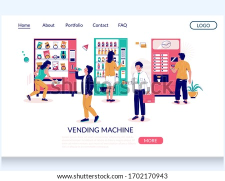 Vending machine vector website template, landing page design for website and mobile site development. Automatic machines dispensing coffee, snacks, soda in exchange for money. Self-service technology.