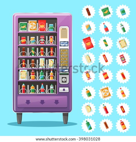 Vending machine with snacks and drinks. Automatic, public, snack, purchase food. Vector illustration