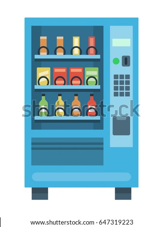 Vending machine with snacks and drinks, flat style vector illustration.