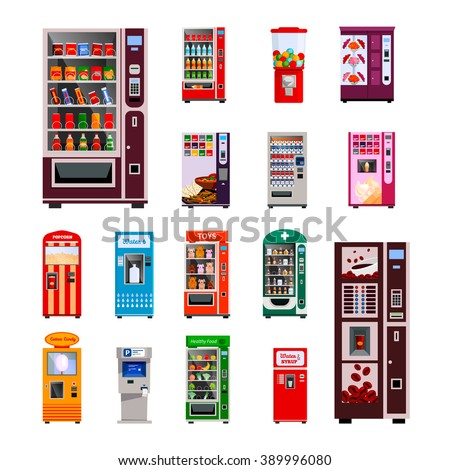 vending machines icons set with