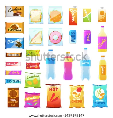 Vending products. Beverages and snack plastic package, fast food snack packs, biscuit sandwich. Drinks water juice flat vector cracker chips and snacking junk bar icons
