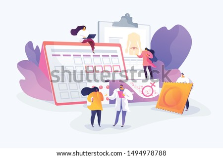Venereal diseases, pregnancy prevention. Safe sexual behavior. Female contraceptives, oral hormonal contraception, birth fertility control concept. Vector isolated concept creative illustration
