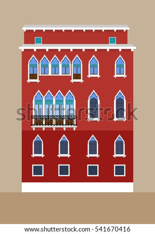 Venetian building facade detailed illustration. Beautiful renaissance building with Venetian-style windows, balcony. Venice, Italy