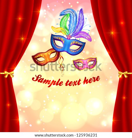Venetian carnival poster template with masks and curtain on lights background