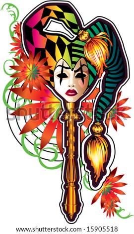 venetian harlequin mask mardi gras multi color daisy flower and vines illustration vector