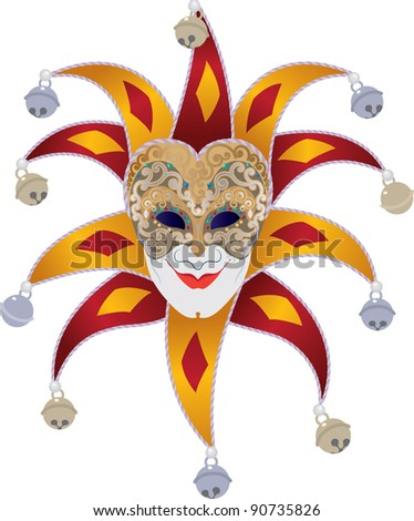 Venetian mask with bells jester