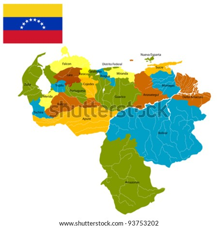 Venezuela districts map and flag over white background.
