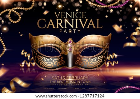 Venice carnival glamours design with beautiful mask in 3d illustration on sparkling particle background