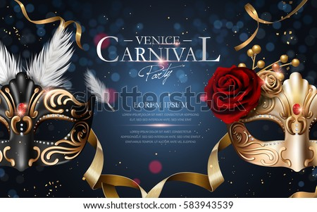Venice carnival poster, two gorgeous mask with diamonds isolated on bokeh blue background in 3d illustration