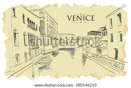 venice houses. vector drawing...